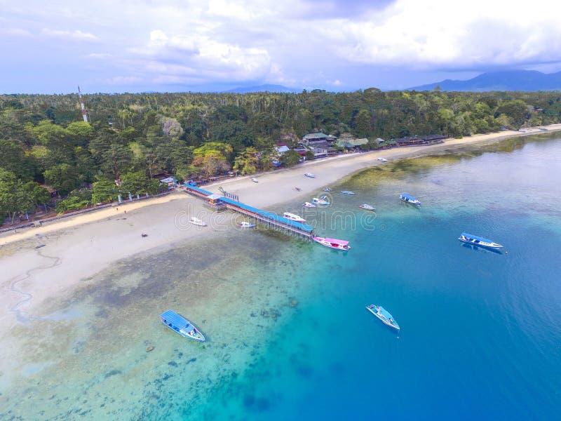 Aerial Bunaken Port stock images