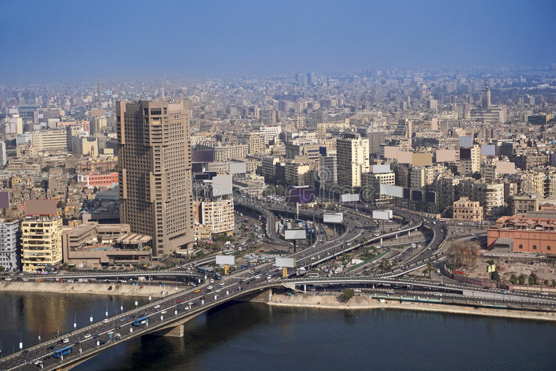 Aerial Cairo Egypt 6th October bridge stock image