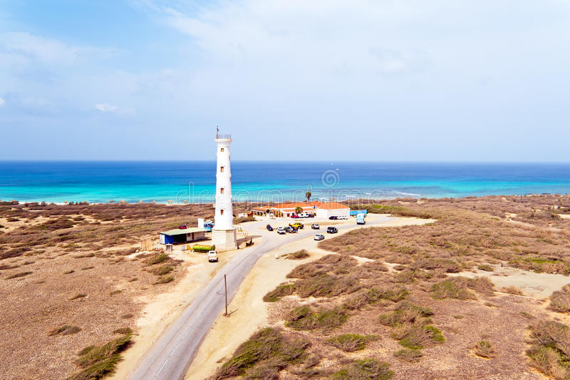 Aerial from California LIghthouse on Aruba island in the Caribbean stock photo