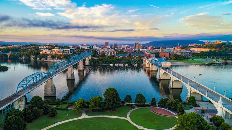 Aerial of Chattanooga Tennessee TN Skyline royalty free stock photography