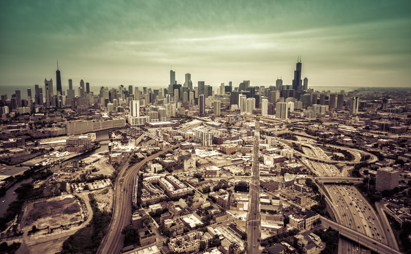 Aerial Chicago skyline with highway system royalty free stock image