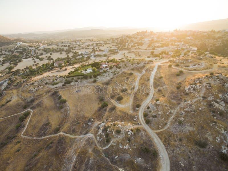 Aerial Choirokoitia, Larnaca, Cyprus. Aerial bird`s eye view of UNESCO world heritage site Choirokoitia, Larnaca, Cyprus. View of Khirokoitia, a prehistoric royalty free stock photography