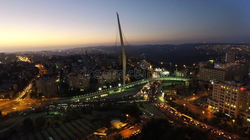 Aerial of chords bridge at night in Jerusalem Israel stock photos