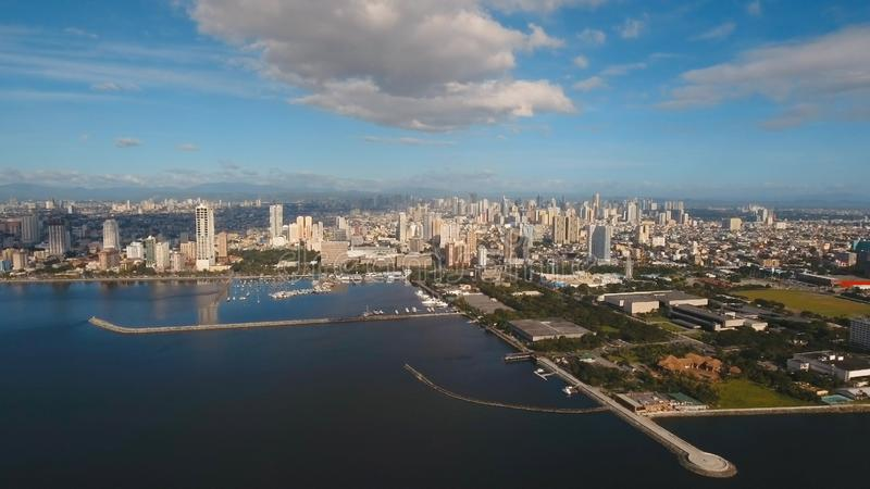 Aerial city with skyscrapers and buildings. Philippines, Manila, Makati. royalty free stock photography
