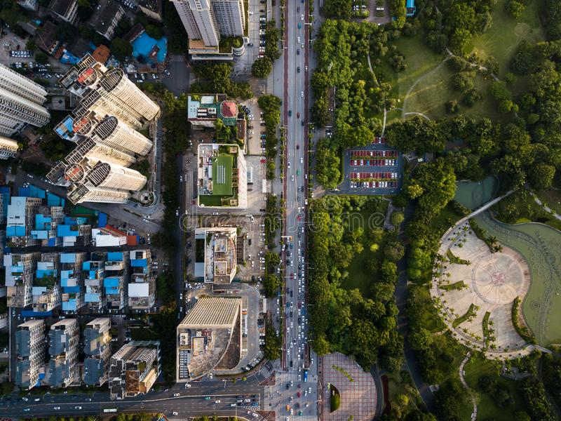 Aerial city view of the busy streets in Nanning China. Urban aerial city view of the busy streets in Nanning China, modern, skyline, cityscape, guangxi, capital royalty free stock photography