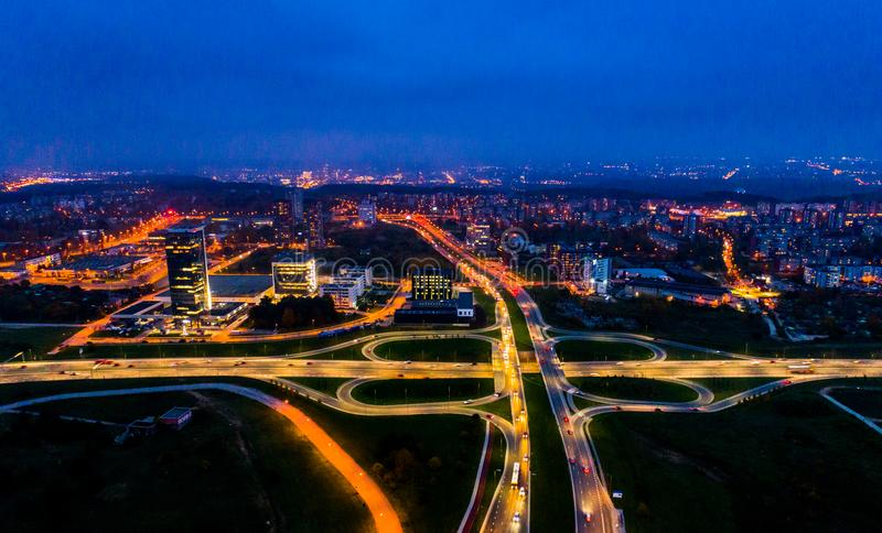 Aerial city view at night, Vilnius stock images