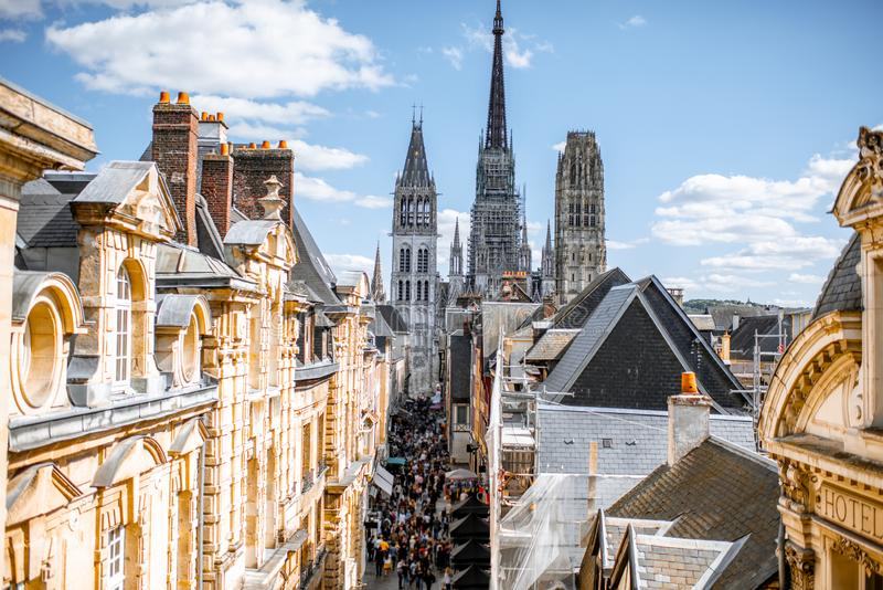 Aerial cityscape view of Rouen, France royalty free stock images