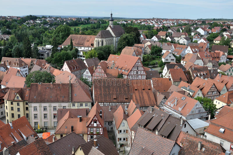 Aerial cityscape, bad wimpfen. Aerial view of roofs of ancient city center stock images