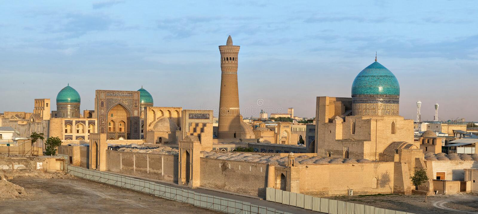 Aerial cityscape of Bukhara on sunset, Uzbekistan royalty free stock photos