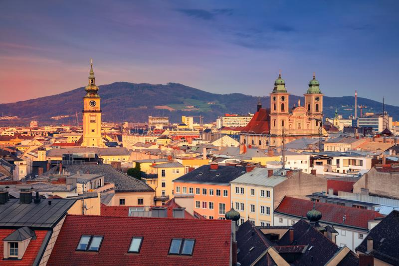 Linz, Austria. Aerial cityscape image of Linz, Austria during sunset royalty free stock photo