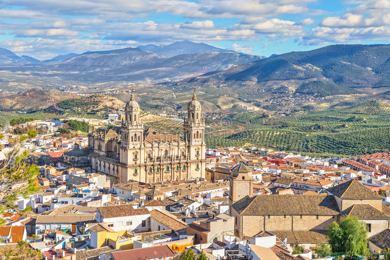 Aerial cityscape of Jaen with cathedral royalty free stock images
