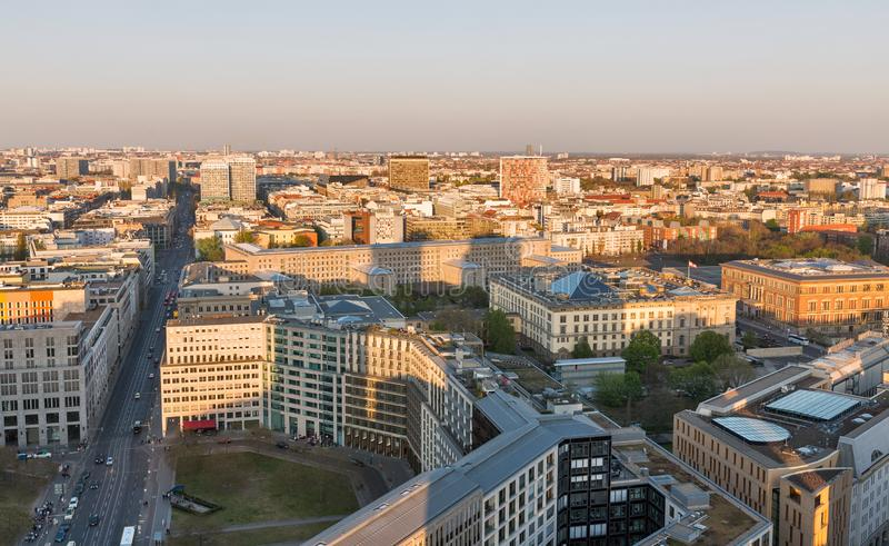Berlin evening aerial cityscape, Germany royalty free stock photo