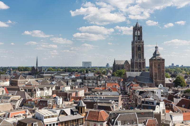 Aerial cityscape of medieval city Utrecht, the Netherlands. Aerial cityscape of medieval city Utrecht, fourth city of the Netherlands royalty free stock image