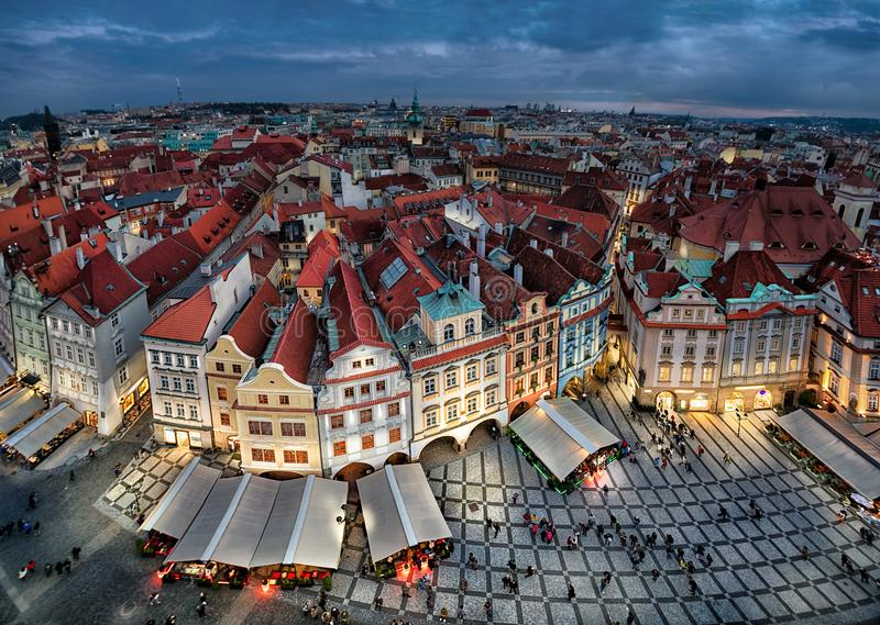 Aerial cityscape of Prague with colorful buildings at dusk stock images