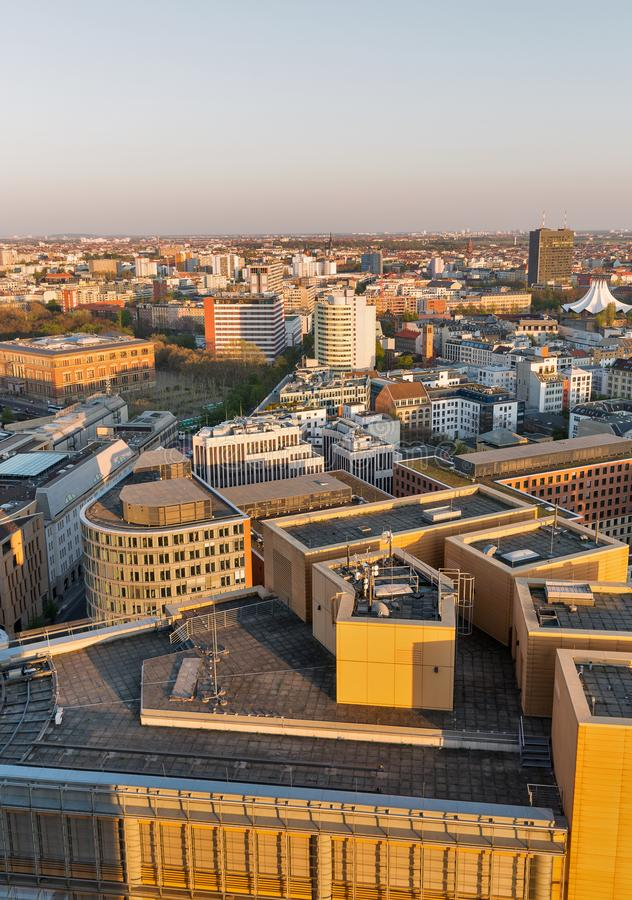 Berlin evening aerial cityscape, Germany stock image