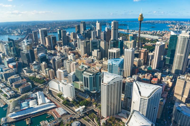 Aerial cityscape of Sydney Central Business District. With Sydney landmarks and Sydney Harbour. Sydney, Australia. Urban background royalty free stock photos