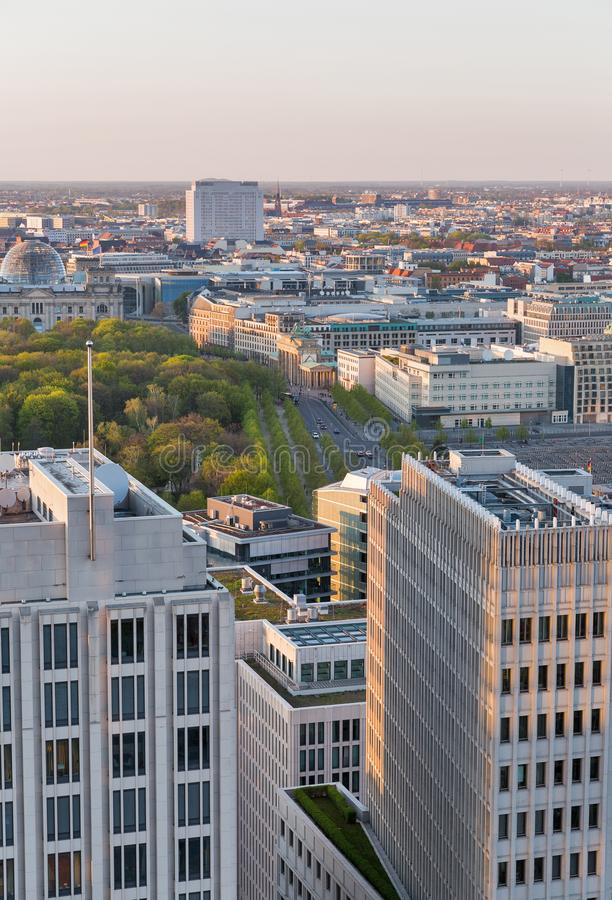 Berlin evening aerial cityscape, Germany royalty free stock image