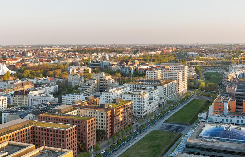 Berlin evening aerial cityscape, Germany stock photography