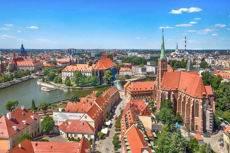 Aerial cityscape of Wroclaw, Poland royalty free stock photos