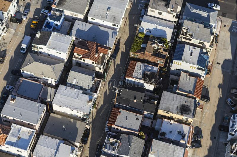 Aerial Closely Packed Homes in Los Angeles County. Aerial view of closely packed homes, streets and alleys in Los Angeles County, California royalty free stock image