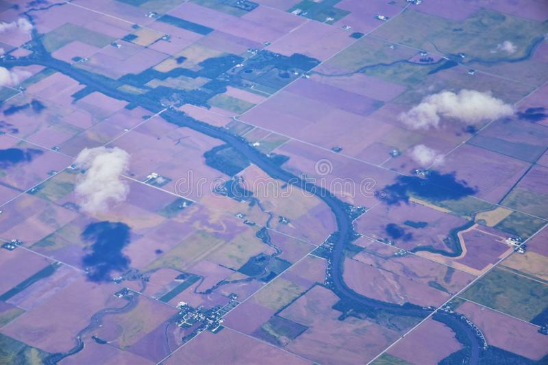 Aerial Cloudscape view over midwest states on flight over Colorado, Kansas, Missouri, Illinois, Indiana, Ohio and West Virginia du. Ring autumn. Grand sweeping stock images