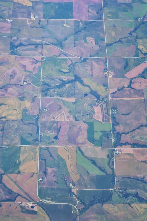 Aerial Cloudscape view over midwest states on flight over Colorado, Kansas, Missouri, Illinois, Indiana, Ohio and West Virginia du. Ring autumn. Grand sweeping stock photo