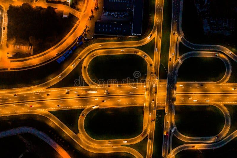 Aerial road view at night stock photos