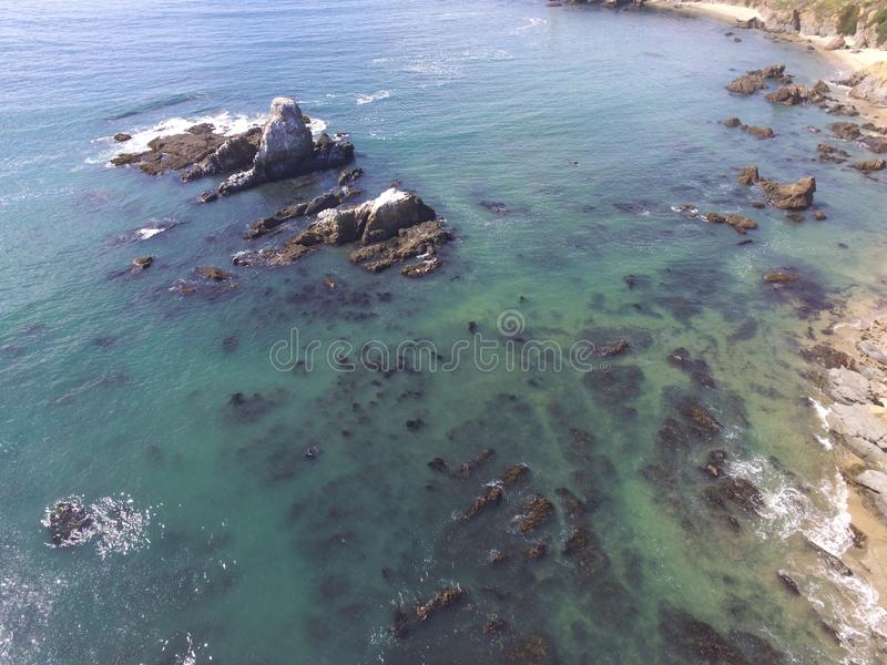 Aerial Coastal Images taken along a stretch of California& x27;s Pacific Coast Hwy.  From San Francisco through Big Sur. royalty free stock image