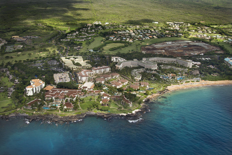 Aerial of coastal resort. Aerial of tropical beach resort in Maui, Hawaii royalty free stock images