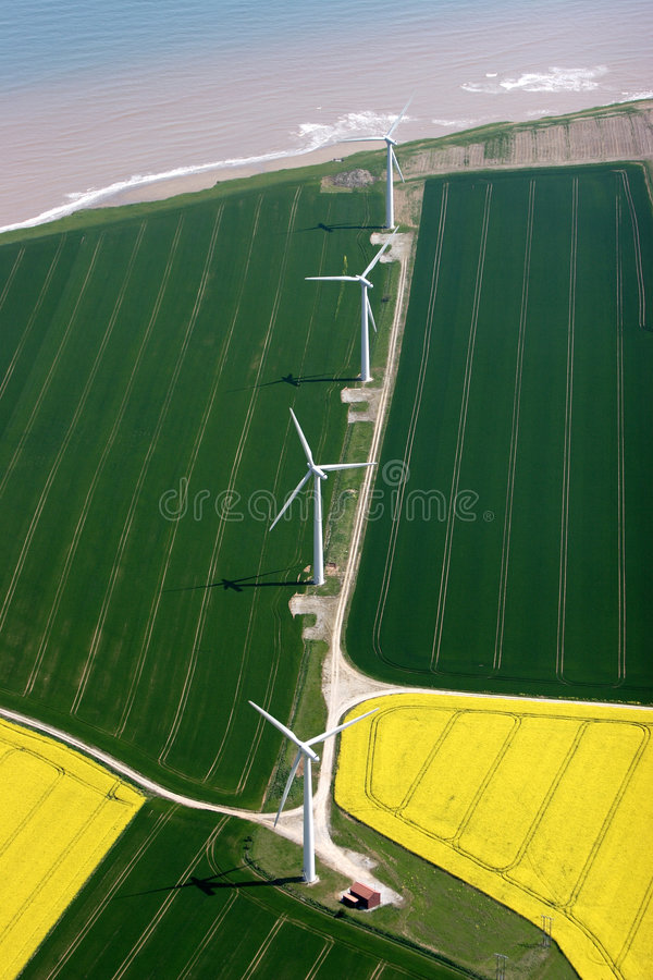 Aerial of a coastal windfarm stock photography