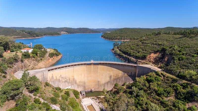 Aerial. The dam Odiaxere, Bravura water storage, in south of Portugal. royalty free stock image
