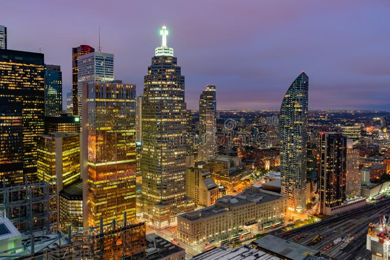 Aerial dawn view of the Toronto downtown cityscape. At Canada stock photography