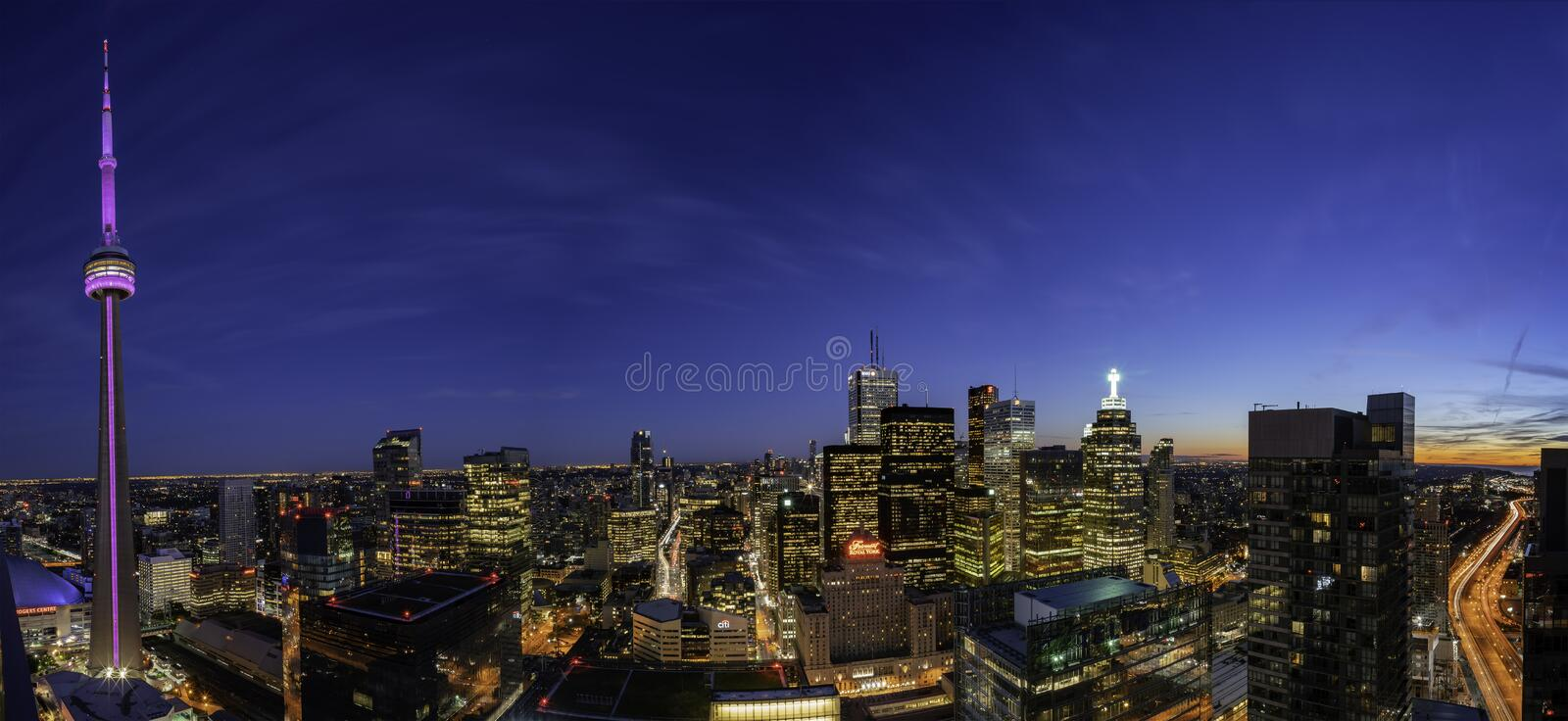 Aerial dawn view of the Toronto downtown cityscape with CN Tower. Toronto, SEP 29: Aerial dawn view of the downtown cityscapecityscape with CN Tower on SEP 29 royalty free stock image