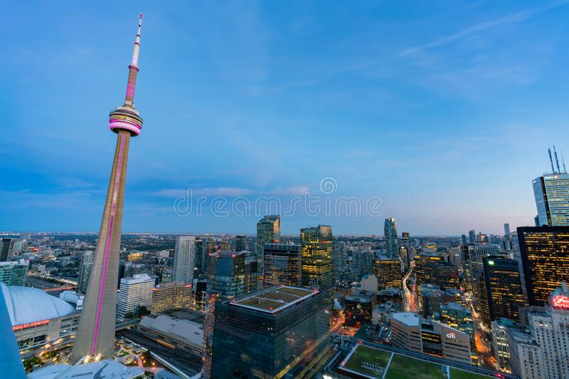 Aerial dawn view of the Toronto downtown cityscape with CN Tower. Toronto, SEP 29: Aerial dawn view of the downtown cityscapecityscape with CN Tower on SEP 29 stock photo
