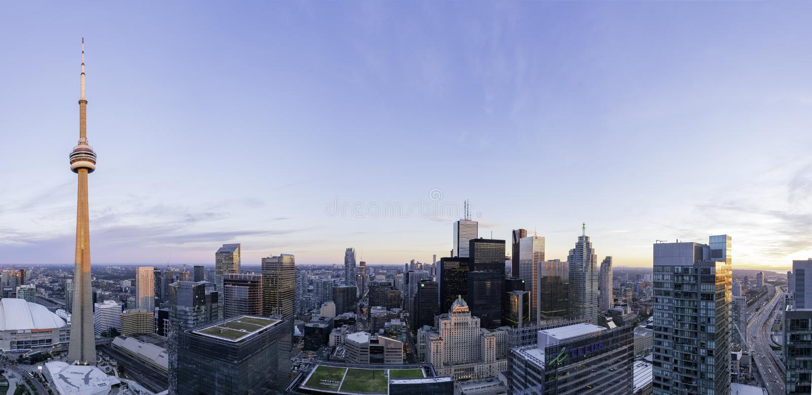 Aerial dawn view of the Toronto downtown cityscape with CN Tower. Toronto, SEP 29: Aerial dawn view of the downtown cityscapecityscape with CN Tower on SEP 29 royalty free stock photography