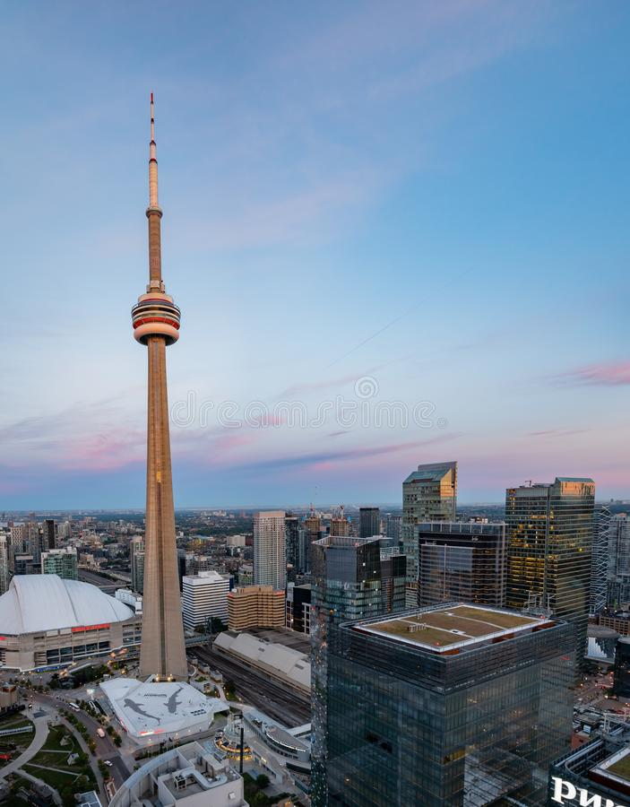 Aerial dawn view of the Toronto downtown cityscape with CN Tower. Toronto, SEP 29: Aerial dawn view of the downtown cityscapecityscape with CN Tower on SEP 29 stock photos