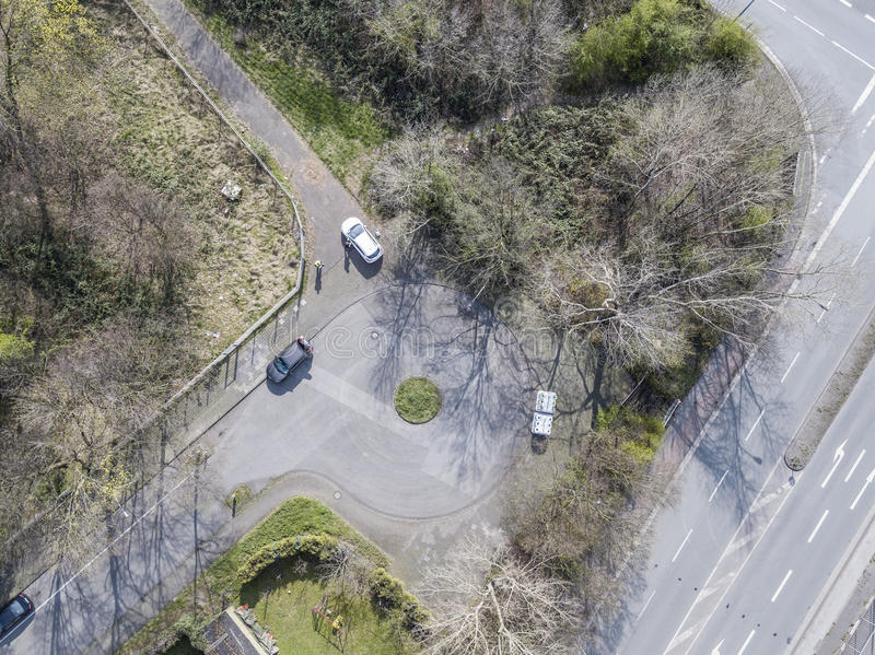 Aerial of a dead end road. With cars stock photography