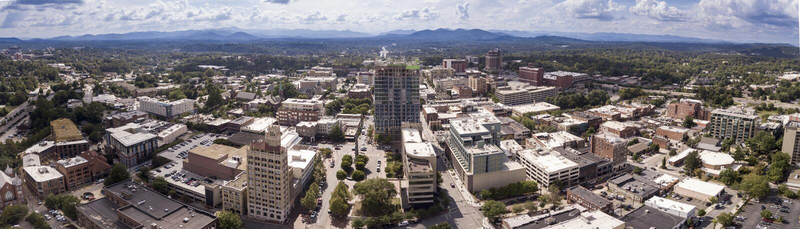 Aerial 180 degree panorama of Asheville, North Carolina downtown stock image