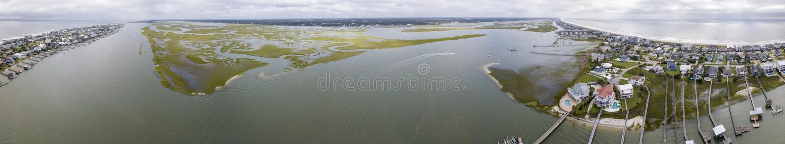 Aerial 360 degree panorama of Murrell Inlet and Surfside Beach in South Carolina along the Atlantic coast.  royalty free stock photos