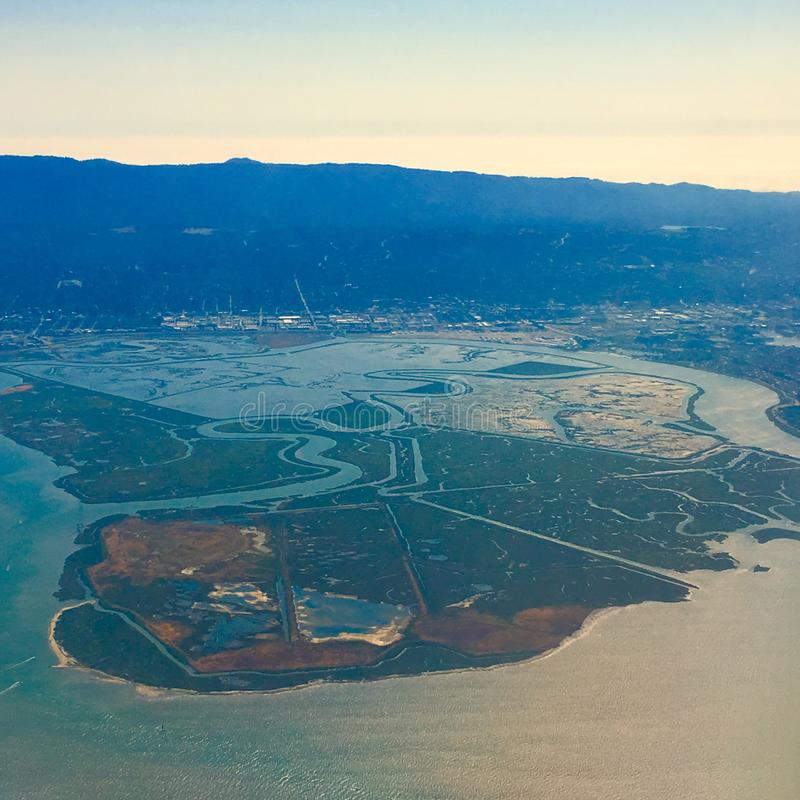 Aerial Design Paths. This aerial photo taken from above shows how the flow of water can create beauty royalty free stock image