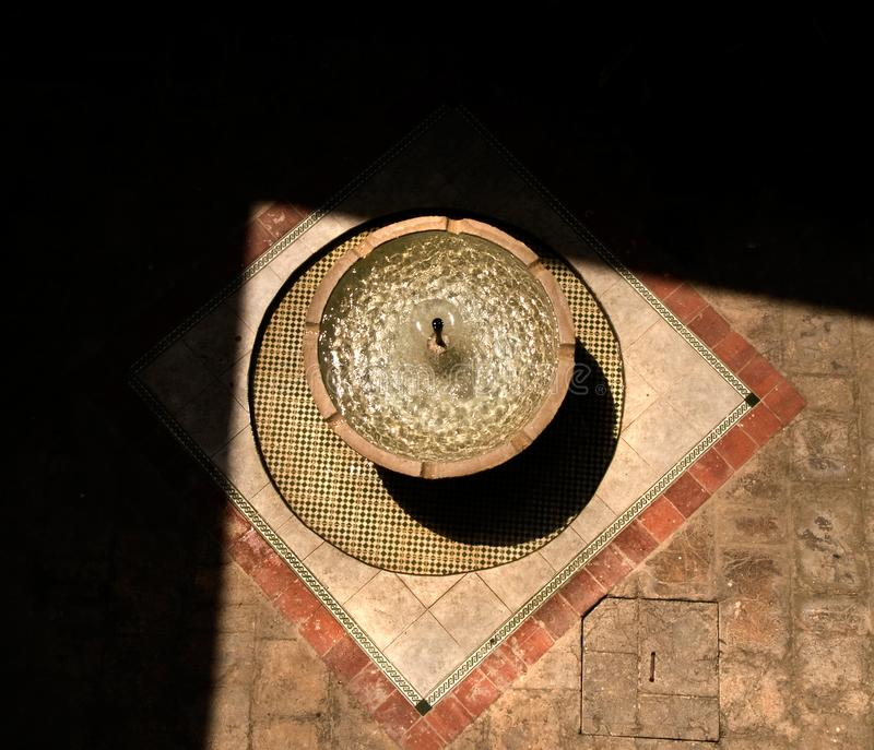 Aerial detail of an Arab patio and fountain in Cuba. royalty free stock images