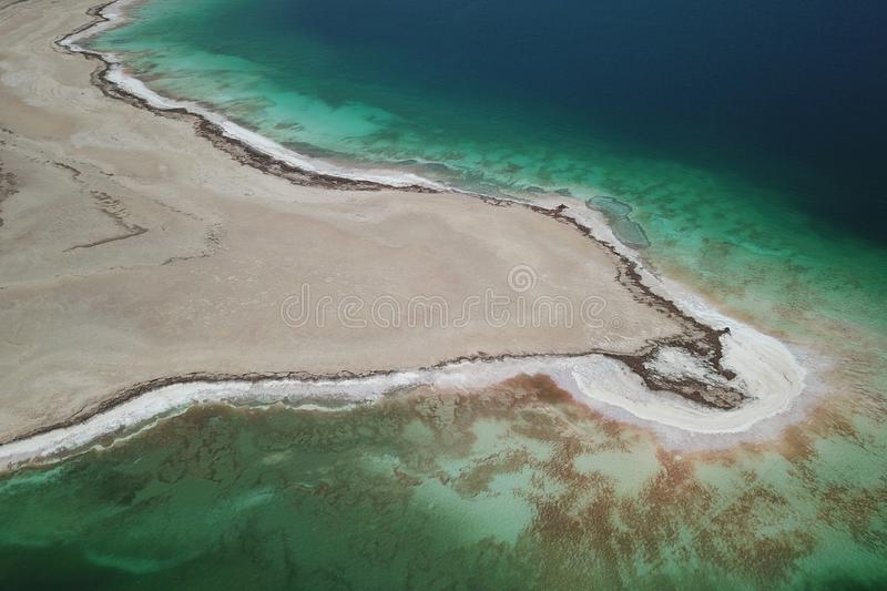 Aerial detail of Dead Sea stock image
