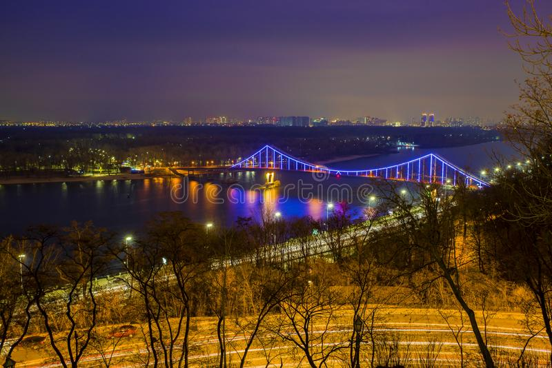 Aerial Dnieper river view and Patona bridge in night stock photography
