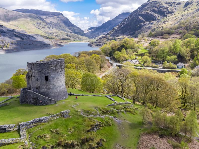 Aerial of Dolbadarn Castle at Llanberis in Snowdonia National Park in Wales. United Kingdom royalty free stock photos