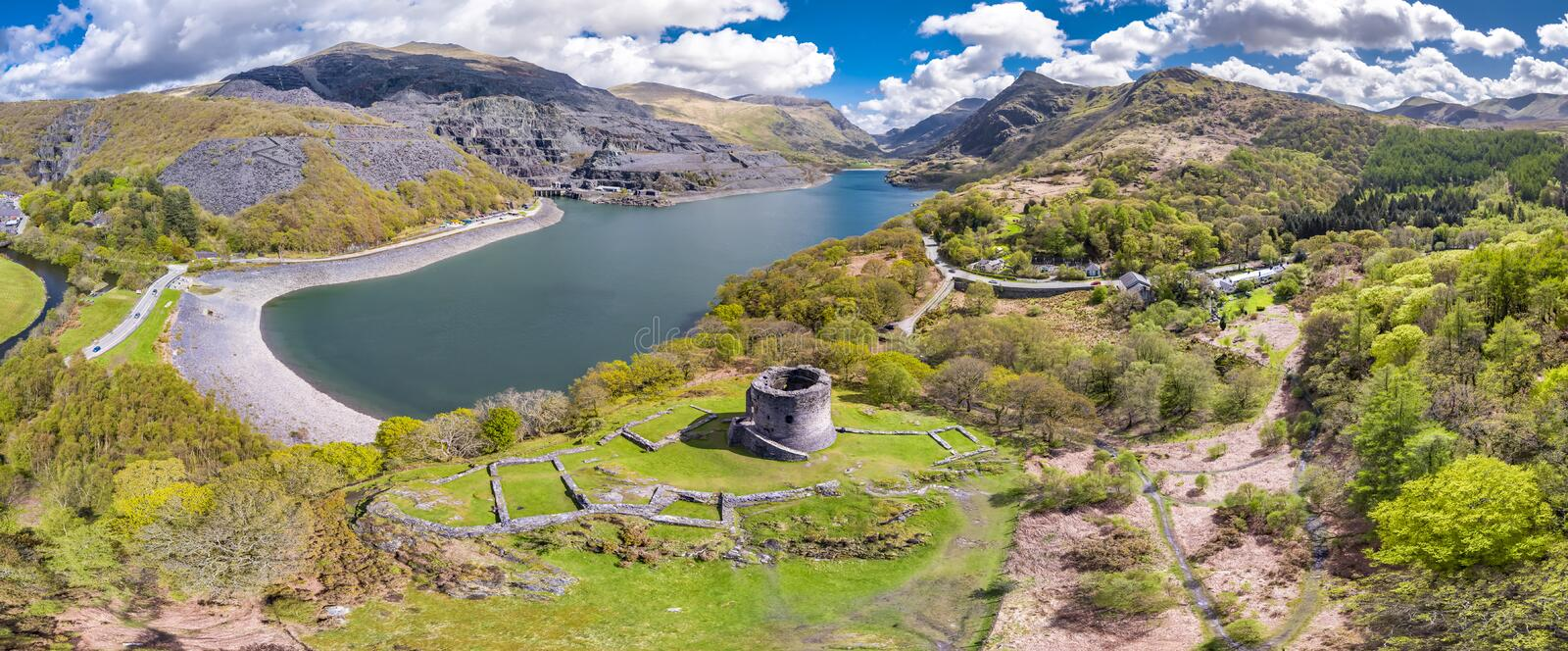 Aerial of Dolbadarn Castle at Llanberis in Snowdonia National Park in Wales. United Kingdom royalty free stock images