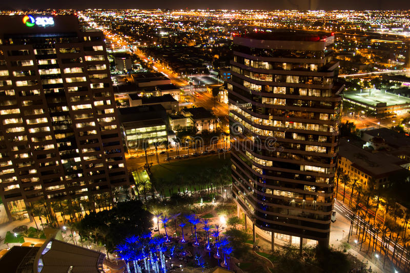 Aerial of downtown buildings at night in Phoenix, AZ. Aerial of downtown buildings at night in Phoenix, Arizona royalty free stock images