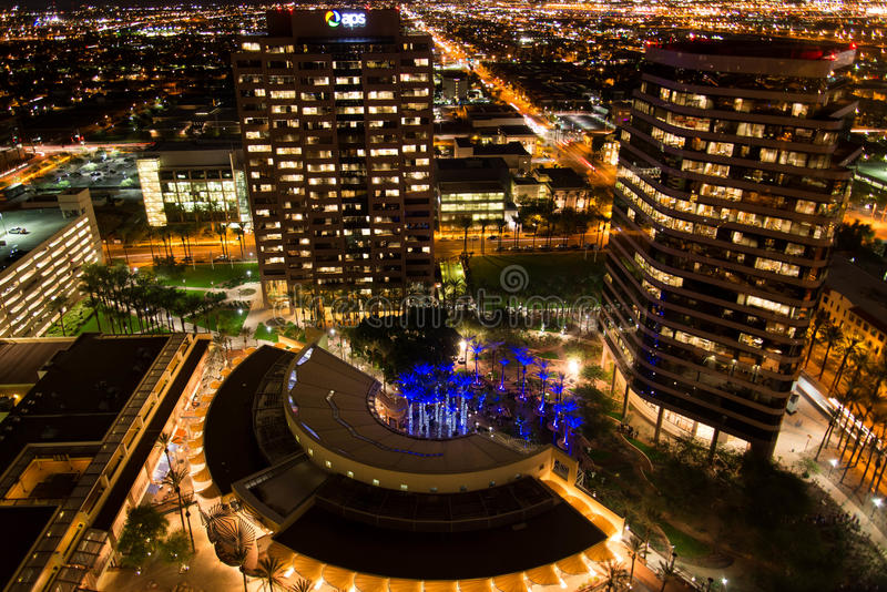 Aerial of downtown buildings at night in Phoenix, AZ. Aerial of downtown buildings at night in Phoenix, Arizona royalty free stock image