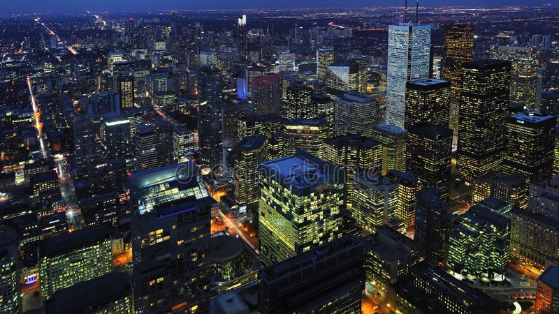 Aerial of downtown Toronto, Canada city center at night. An aerial of downtown Toronto, Canada city center at night royalty free stock photography