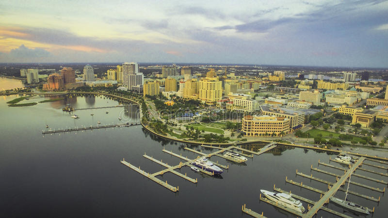Aerial of downtown West Palm Beach, FL stock photography