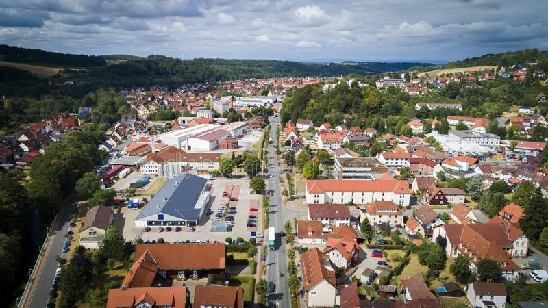 Aerial drone bird`s eye view photo of famous and picturesque european village royalty free stock photos